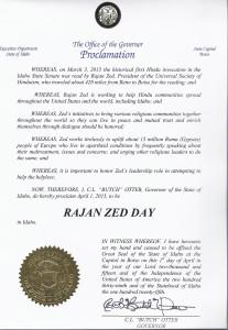 "Idaho Governor proclaims ""Rajan Zed day"""
